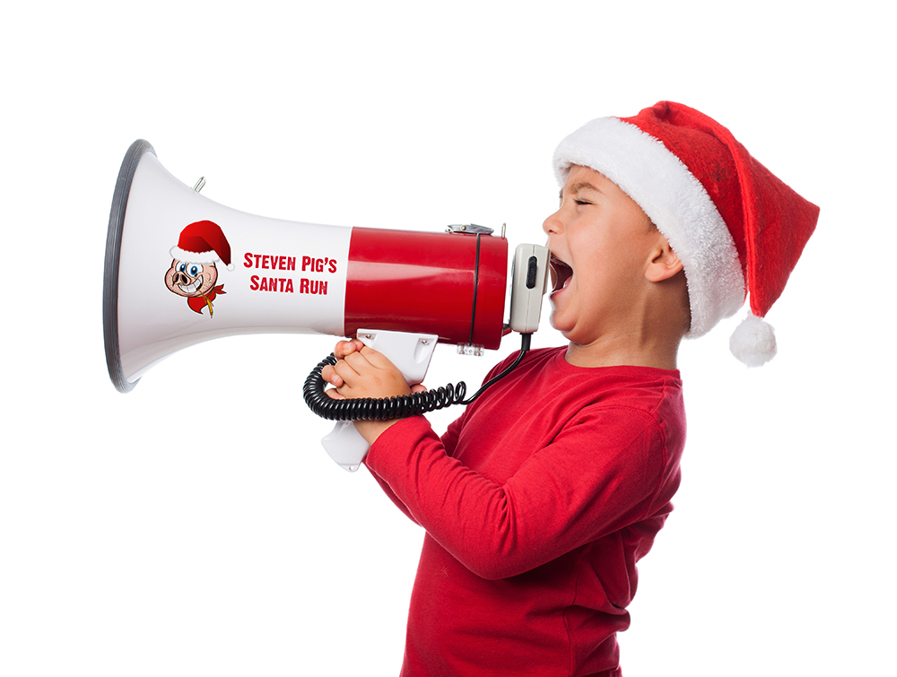 portrait of a little boy wearing a christmas hat and screaming by megaphone